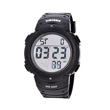 Reloj Deportivo 7 Colores Reloj Electrónico Redondo LED Relojes Digitales Regalo de Cumpleaños(Blanco): Amazon.es: Deportes y aire libre