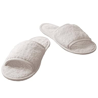 a2ee2c6f2 Amazon.com: Towel City Classic Terry Open Toe Slippers - 100% cotton ...