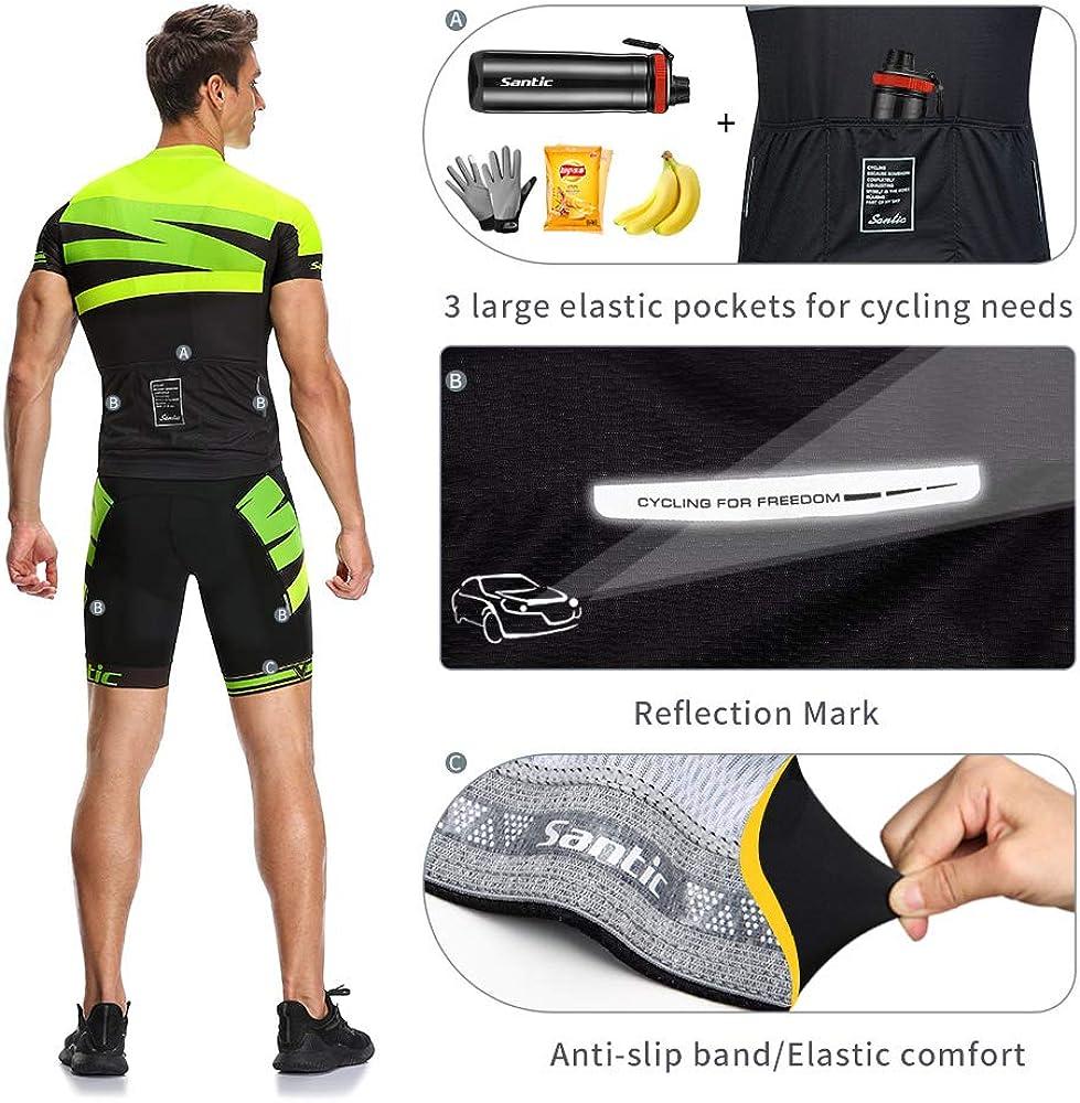 Santic Mens Cycling Jersey Set Bib Shorts 4D Padded Short Sleeve Outfits Set Quick-Dry