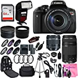 Canon EOS Rebel T6i SLR Camera + Canon EF-S 18-55mm + Canon EF 75-300mm Lens + 0.43 Wide Angle & 2.2 Telephoto Lens + Macro Filter Kit + 64GB Memory Card + DigitalAndMore PRO Accessory Bundle