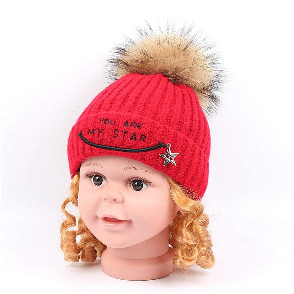 Road/&Cool Beanies Hat Cap Outdoor Leisure Sports Winter Plus Velvet Thickening Child Baby Artificial Wool Knitting Hairball Warm Headgear 48-53cm