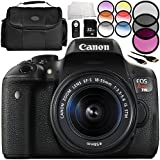 Canon EOS Rebel T6i DSLR Camera with EF-S 18-55mm f/3.5-5.6 IS STM Lens 9PC Accessory Bundle – Includes 32GB SD Memory Card + 3 Piece Filter Kit (UV + CPL + FLD) + MORE (Certified Refurbished)