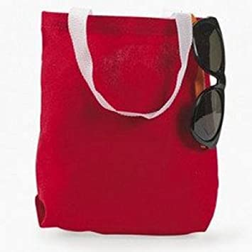 Amazon.com : Canvas Red Tote Bag (1 Dozen) - BULK : Footwear : Beauty