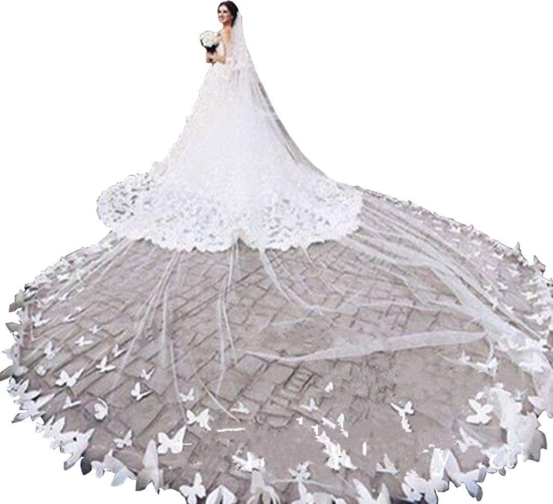 Fenghauvip 2 Tier Cathedral Wedding Veils 3D Butterfly Appliques Veils for Bride Free Comb by Fenghuavip (Image #1)