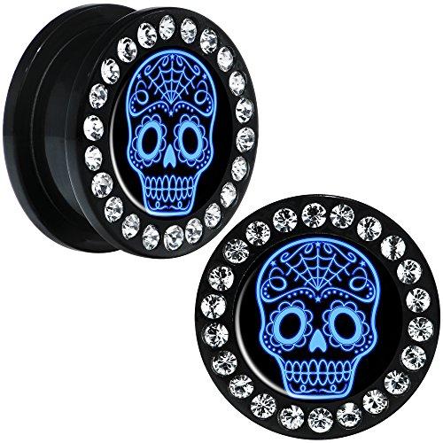 Body Candy Black Acrylic Blue Sugar Skull Art Screw Fit Ear Gauge Plug Pair 20mm