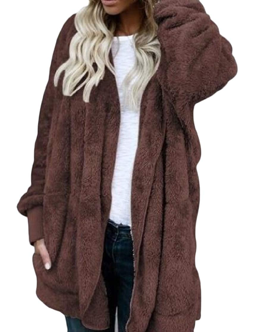 YUNY Womens Mid Long Hoodie Oversize Velvet Loose Pocket Outwear Jacket Coffee XS
