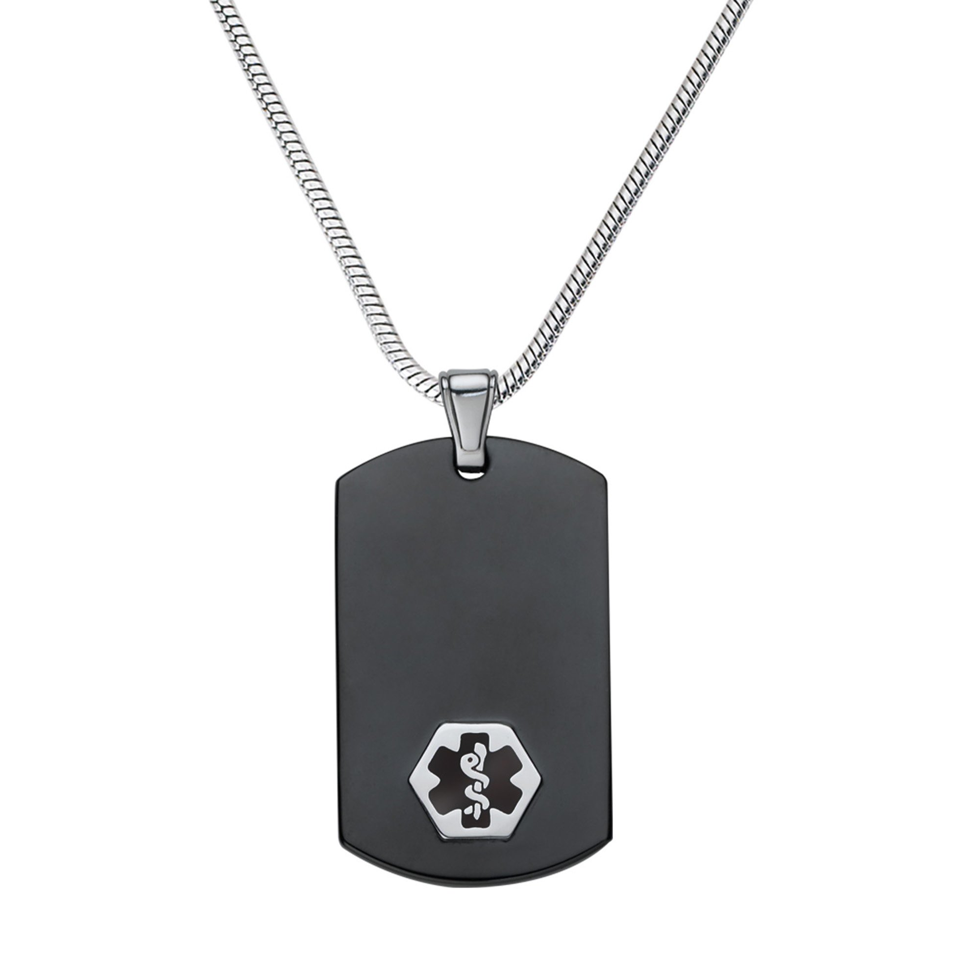 Divoti Custom Engraved Chic Black & Silver 316L Medical Alert Necklace-Dog Tag-24 Stainless Snake Chain-Black