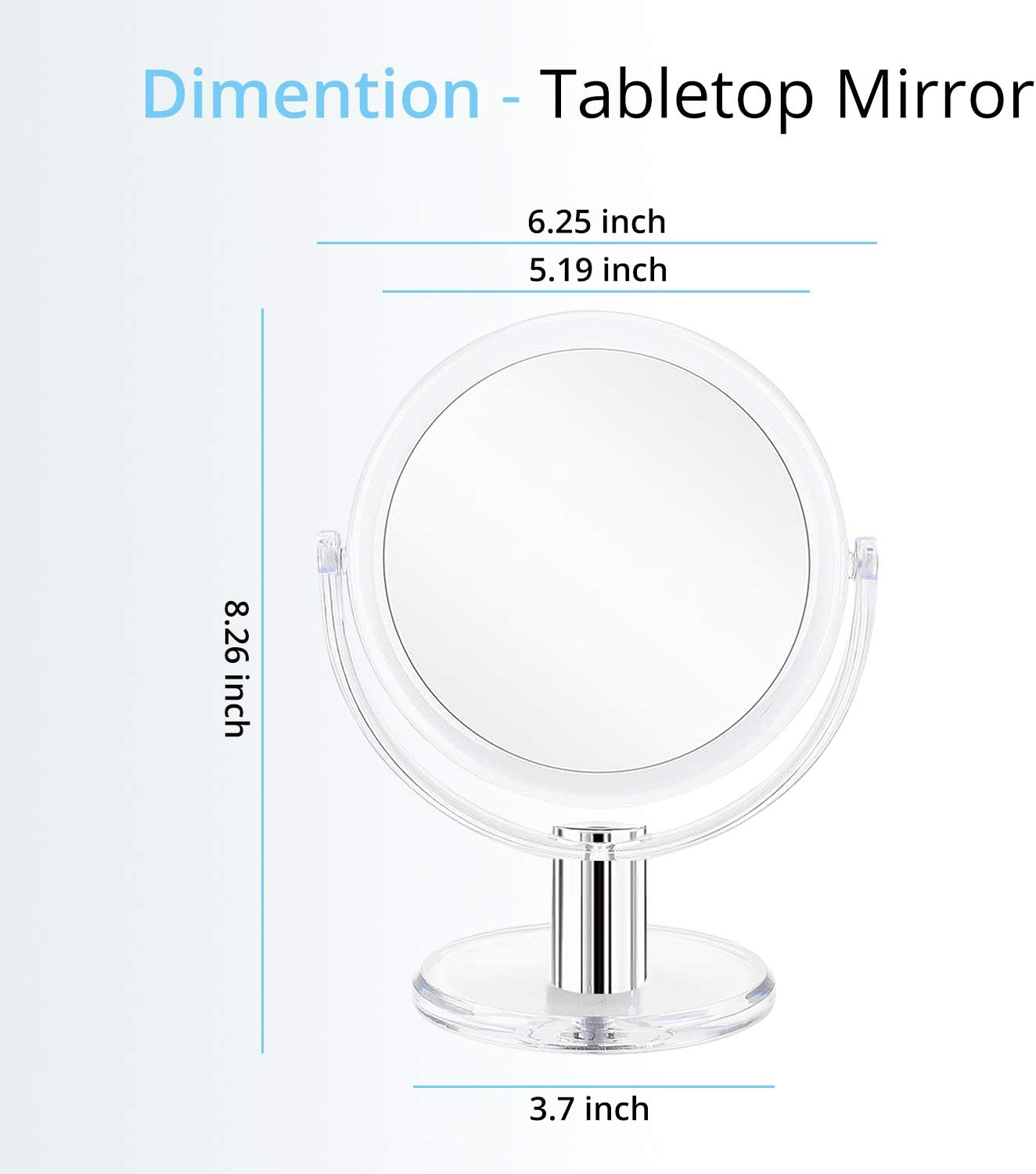 Transparent 1X 10X Magnification Mirror Fabuday Magnifying Makeup Mirror Double Sided Table Top Vanity Mirror