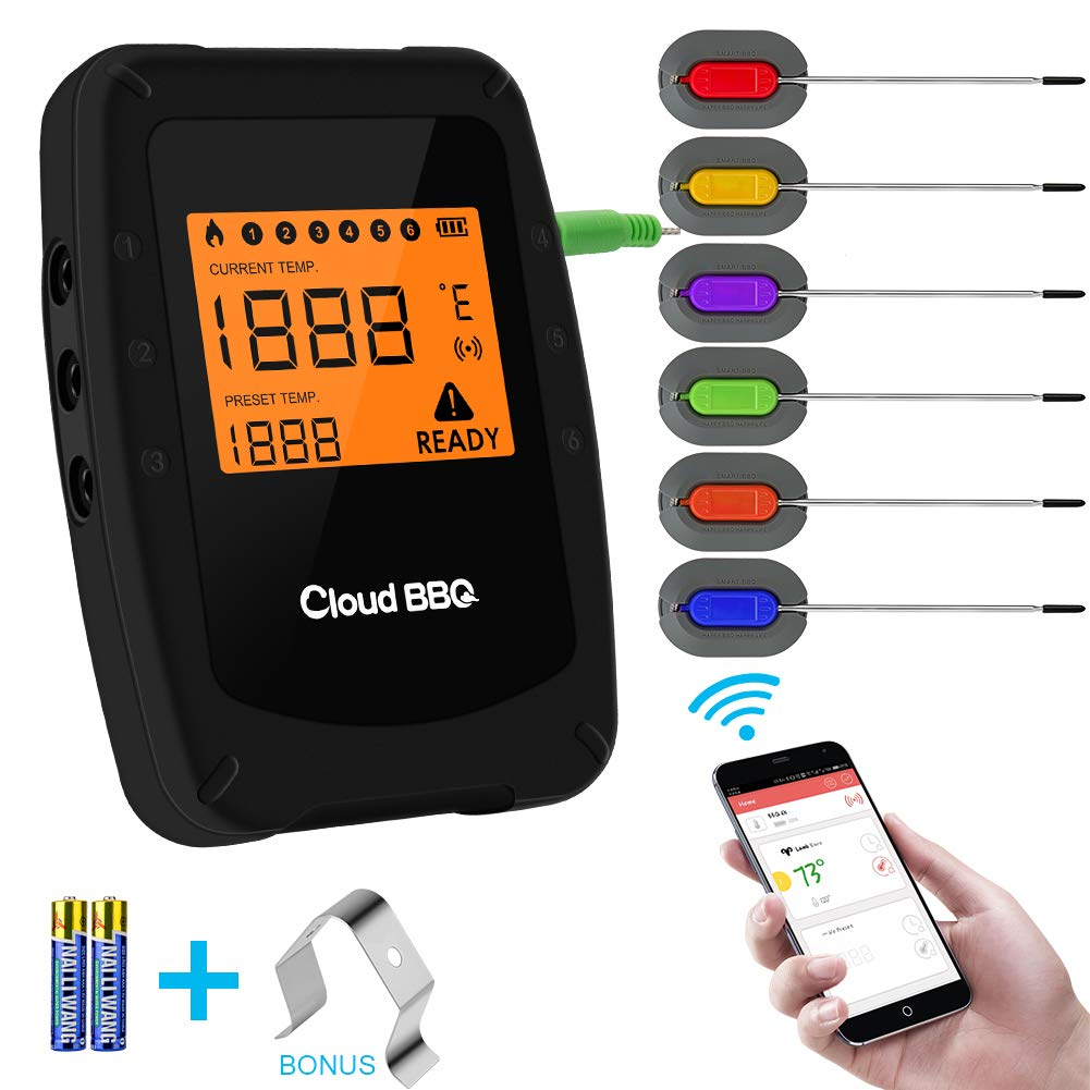 Wireless Meat Grill Thermometer Bluetooth Adapter for iOS&Android, Digital Wireless Thermometer Cooking Food with 6 Probes, Meat Thermometer Bluetooth for Smokers,Kitchen Grilling,Oven,BBQ (Black-S)