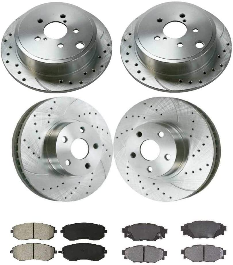 Auto Shack BRKPKG039635 Front /& Rear Performance Silver Rotors and Ceramic Pads Set
