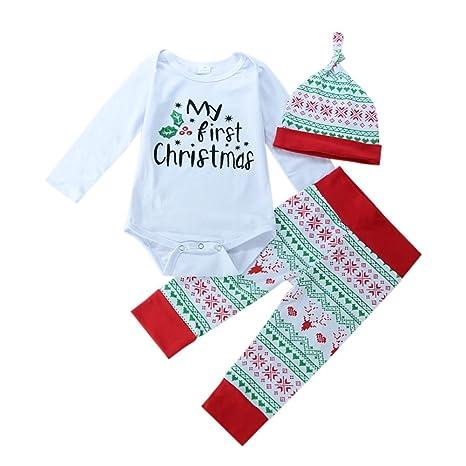 bornbayb bebé Navidad Pelele Conjunto Niños mi primera Navidad sombrero pantalones niñas traje Set 0 –