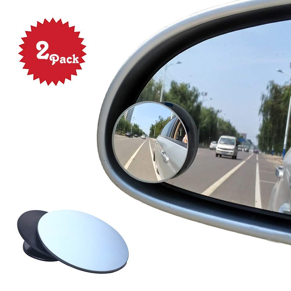 Winkelspiegel, Beeway® Auto-Winkelspiegel Tote Winkel rund 360° rahmenlos, verstellbar selbstklebend, 2xPack