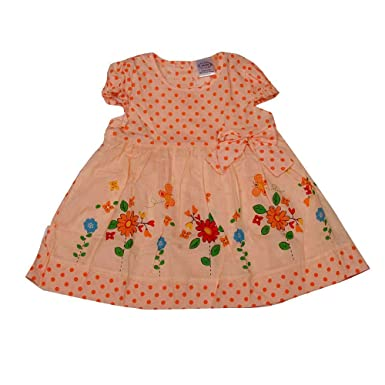 dcac522dd PIKABOO Baby Polka Dots and Bow Frock - Orange for Girls (6-9 Months ...