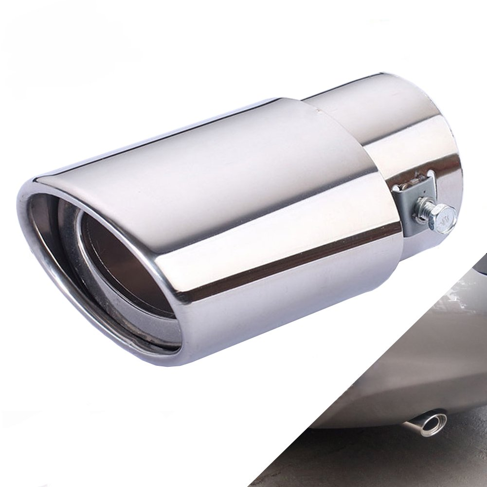 DSYCAR Universal Stainless Steel Car Exhaust Tail Muffler Tip Pipe- Fit pipe Diameter 1 3/4 inch to 2 3/4 inch (Silver Large Straight:6.3'' X 4'')