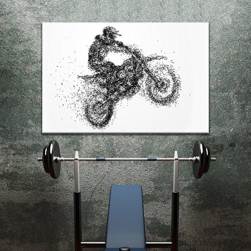 Sports Theme Abstract Shape a Man Riding Moto Bicycle Formed Dots