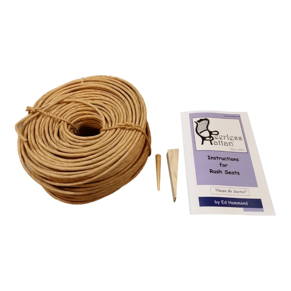 Fibre Rush Seating Kit with Full Color Instructions by Ed Hammond, 280' Coil of 6/32 Fiber Rush Kraft Brown, Plus a Peg and a Wedge (6/32 (280')