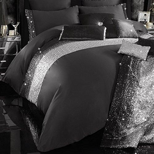 couvre lit strass Mezzano Parure de lit noire par Kylie Minogue, Satin, noir, Simple  couvre lit strass