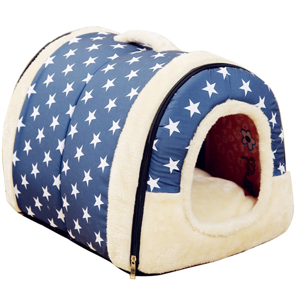 L Fund Best Pet Supplies Home Sweet Home Bed Indoor Outdoor House Bed Shelter for Dogs Cat Puppy 60x45x40cm bluee Dot