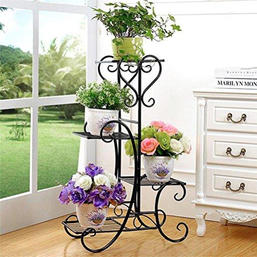 4 Tier Flower Stand Metal Rack Flower Holder Pot Plant Stand, Wrought Iron Garden Home Flower Balcony Shelf Ladder Display Planter Holder ()