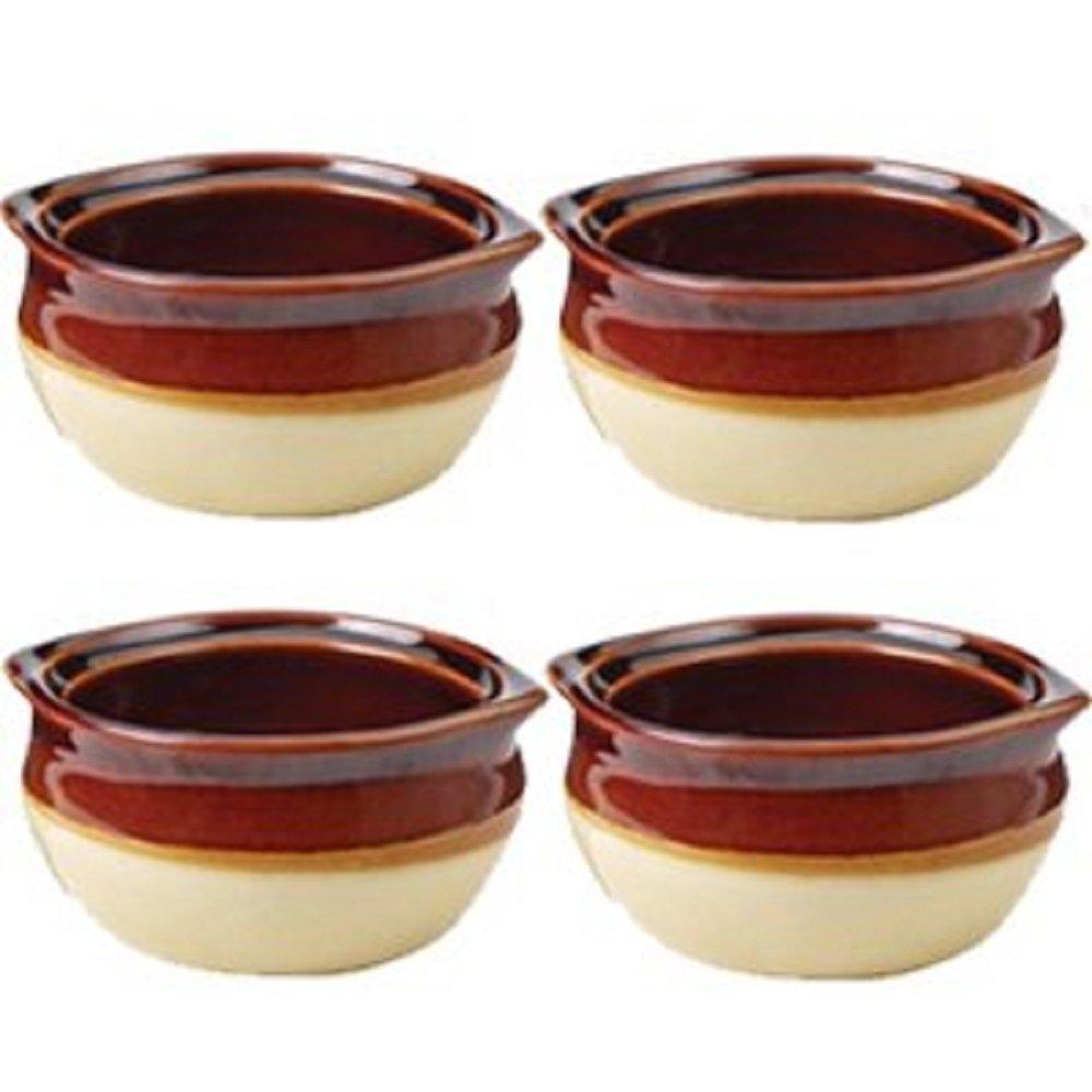 Crestware Set of 4 Onion Soup Crock Bowls - 10 ounce - Restaraunt Quality - Porcelain