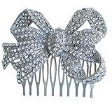 Sindary Wedding Headpiece Silver-tone Clear Rhinestone Crystal Bowknot Hair Comb