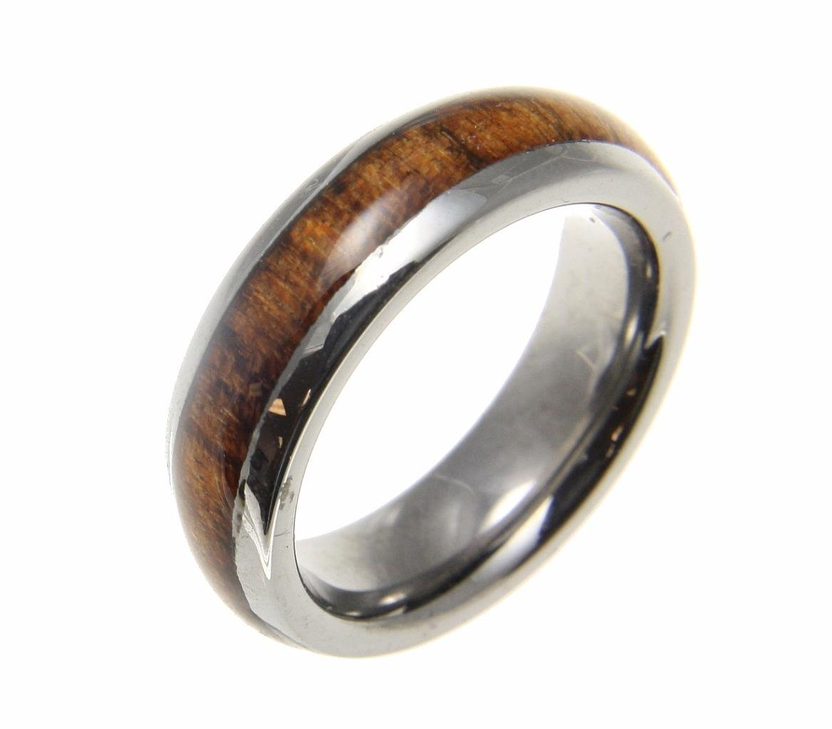 Genuine inlay hawaiian koa wood band ring tungsten comfort fit dome style 6mm size 9