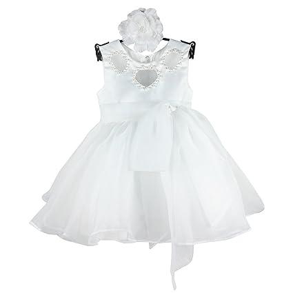 Hola bebé recién nacido niña bautizo vestido de fiesta de cumpleaños 1035 blanco blanco Talla:
