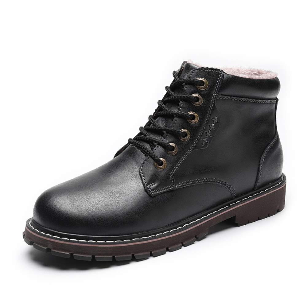 Black Men's Fashion Ankle Work Boot Casual Classic All-Purpose Round Toe Winter Faux Fleece Inside High Top Boot Cricket shoes