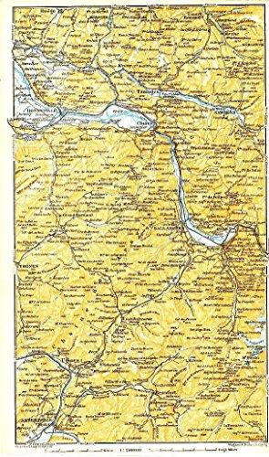 Bonneville to Albertville Haute-Savoie France 1914 detailed antique - Map Albertville