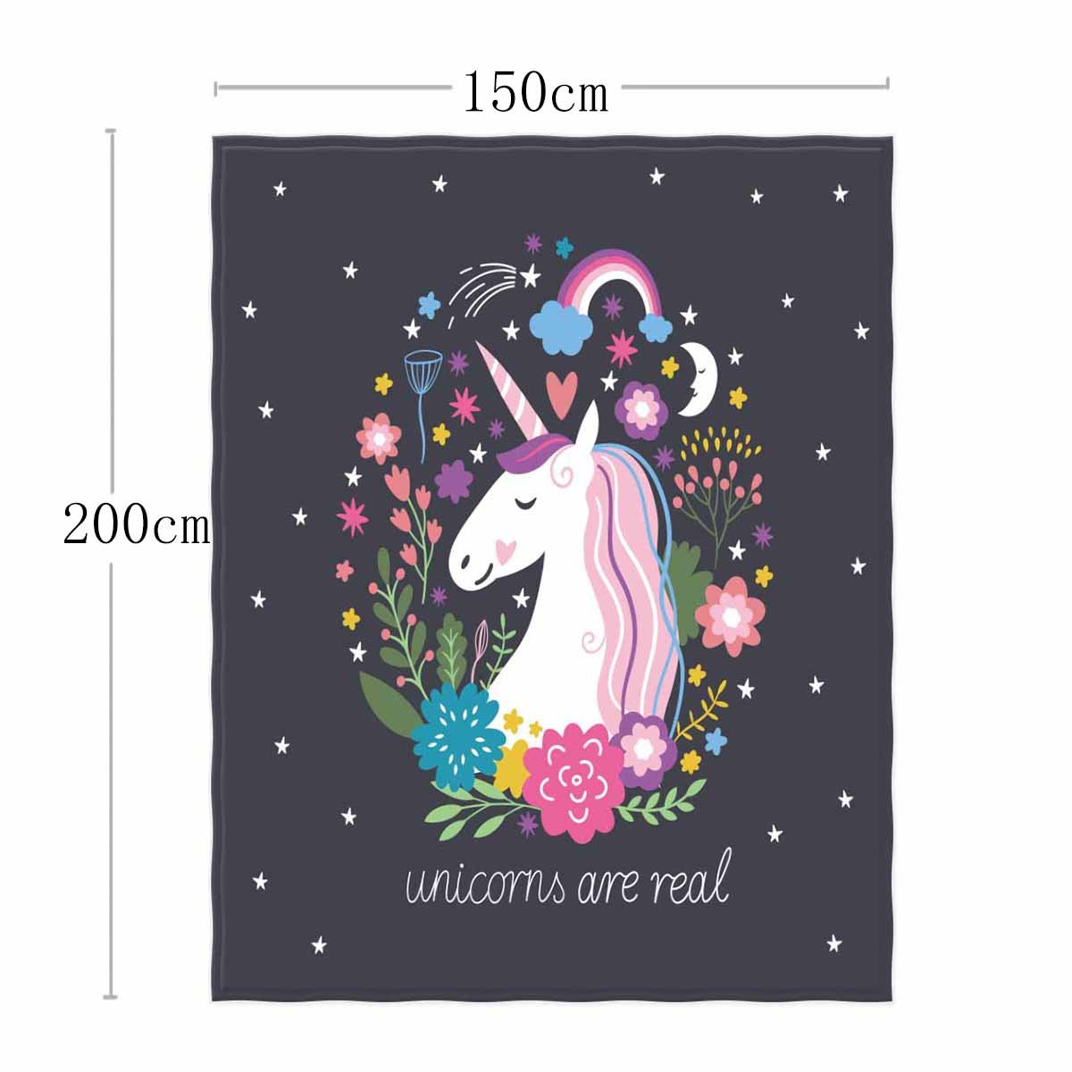 QH 58 x 80 Inch Unicorn Dream Print Super Soft Throw Blanket for Bed Couch Lightweight Blanket Throw Size for Kids Adults