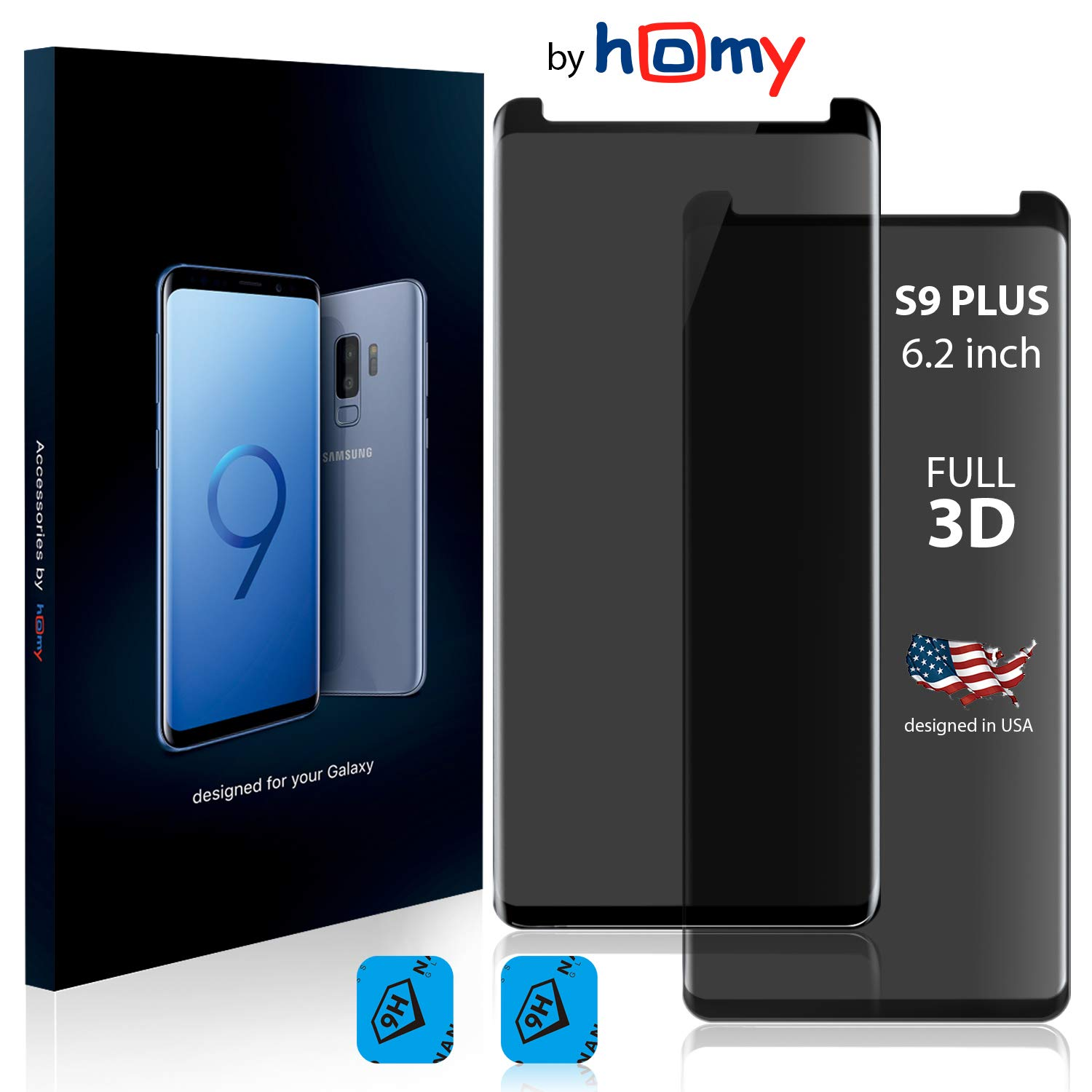 Homy Compatible Privacy UHD Screen Protector Samsung Galaxy S9 Plus 6.2 inch [2-Pack] - Free Camera Lens Cover. Anti Spy Filter Made 9H Curved 3D High Clarity Full Cover Japanese Tempered Glass Homy international