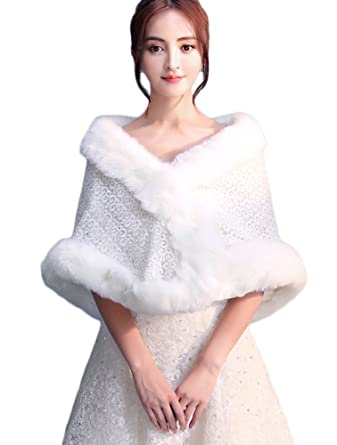 Insun Women's Faux Fur Winter Wedding Shawl for Bride Lace Wedding
