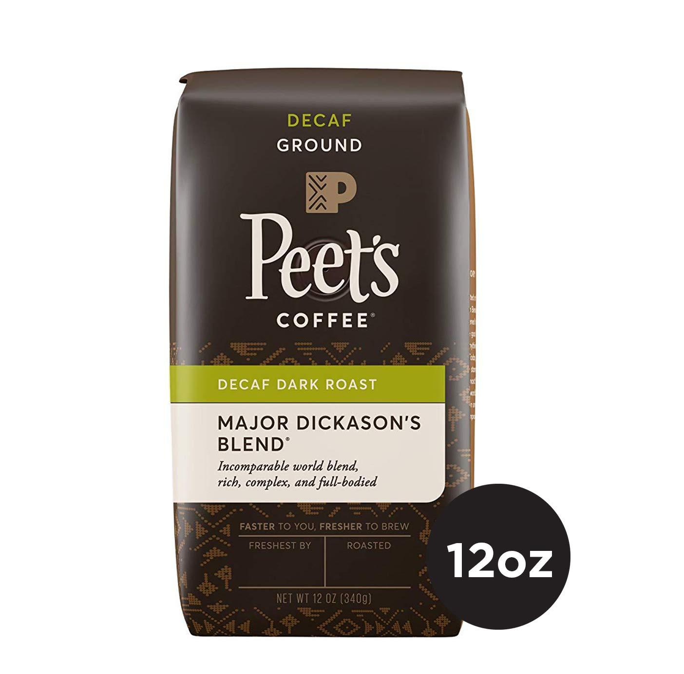 Peet's Coffee Decaf Major Dickason's Blend Dark Roast Ground Coffee, 12 Ounce Bag