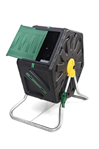 Miracle-Gro Small Composter – Compact Single Chamber Outdoor Garden Compost Bin – Heavy Duty 18.5gal (70L) Capacity – Easy to Assemble Compost Tumbler + FREE Scotts Gardening Gloves