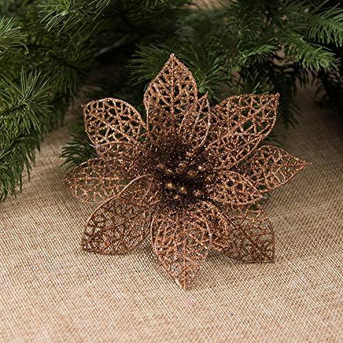 Amazon Com Zorpia 10 Pcs Glitzy Coffee Poinsettia Bushes Christmas Tree Ornaments Glitter Poinsettia Flowers Christmas Decorations Coffee Home Kitchen