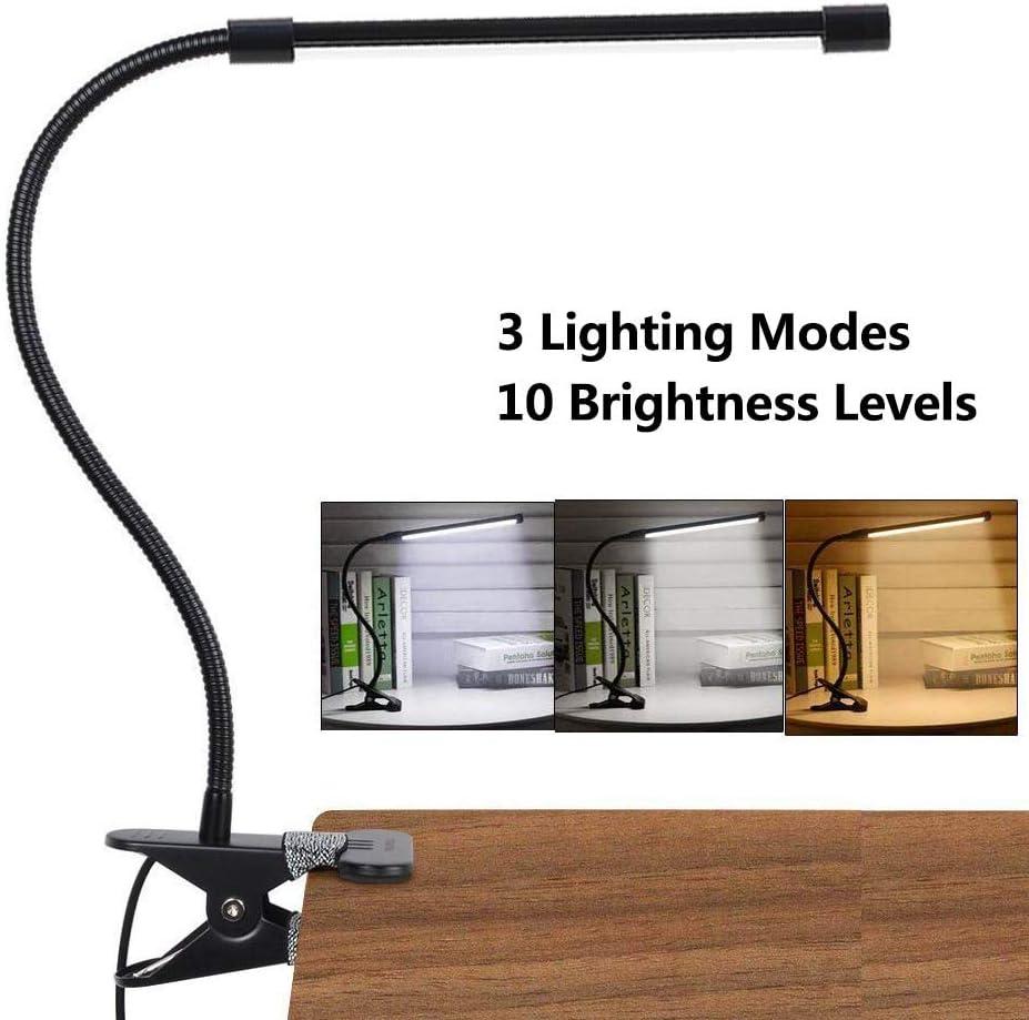 LED Lámpara De Mesa Escritorio, Luz De Lectura Con Abrazadera USB Portátil Flexible Regulable Con 3 Modos De Iluminación y 10 Niveles De Brillo Para Oficina Dormitorio Lectura Estudiar 7w (Negro)