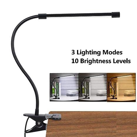 LED Lámpara De Mesa Escritorio, Luz De Lectura Con Abrazadera USB Portátil Flexible Regulable Con 3 Modos De Iluminación y 10 Niveles De Brillo Para ...