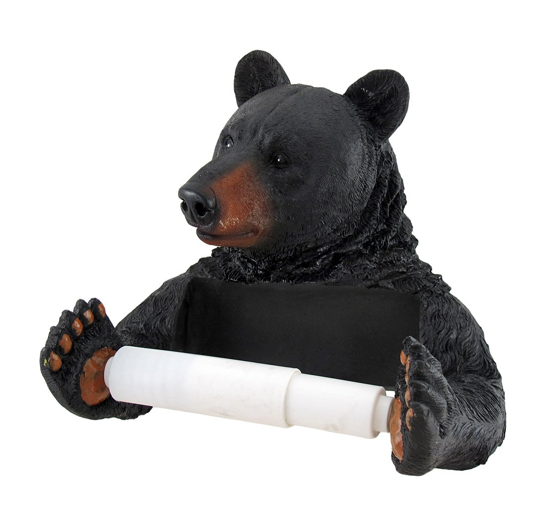 Amazon Com Resin Toilet Paper Holders 2378 Black Bear Helper Hanging Toilet Paper Holder 8 X 7 X 5 Inches Black Home Kitchen