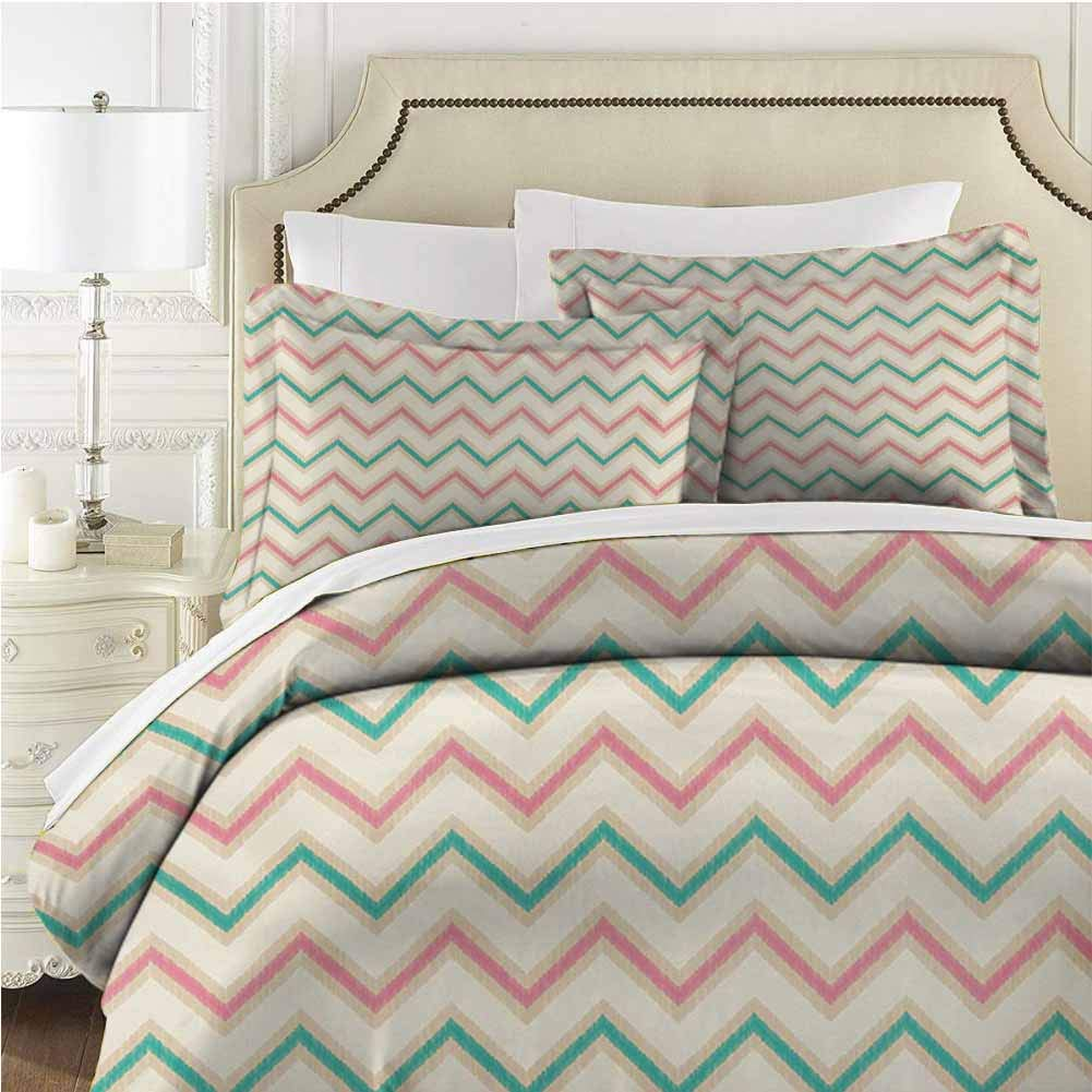 Chevron Bedding Set Comforter Set Bed 3 Pieces (1 Duvet Cover + 2 Pillow Shams) with Zipper Closure Ultra - Twin (68x90 inches) - Pink Green
