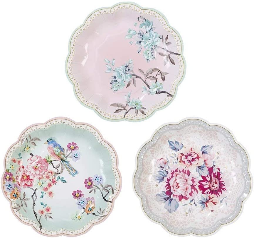 """Talking Tables Truly Romantic 7"""" Small Floral Paper Plates in 3 Designs for a Birthday or Tea Party (12 Pack)"""
