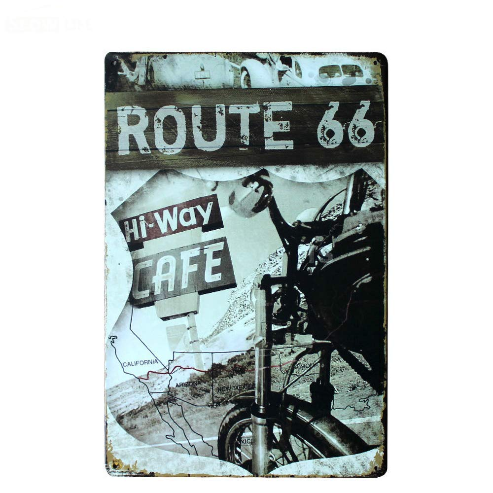 LORENZO Route 66 Vintage Metal Cartel de Chapa Pared Hierro ...