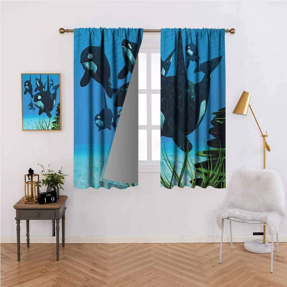 Whale Thermal Room Darkening Window Curtains Pod Of Killer Whales Swim Along A Reef Looking For Fish Prey Ocean Picture Print Room Darkening Thermal Insulated W100x84l Sky Blue Green Kitchen Dining