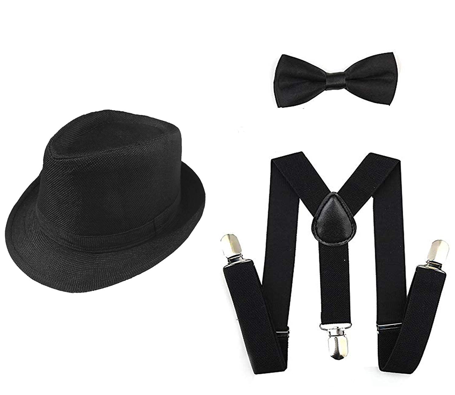 8be69b7e115 1920s Set Fedora Gangster Hat Costume Accessory Y-Back Suspenders   Pre  Tied Bow Tie