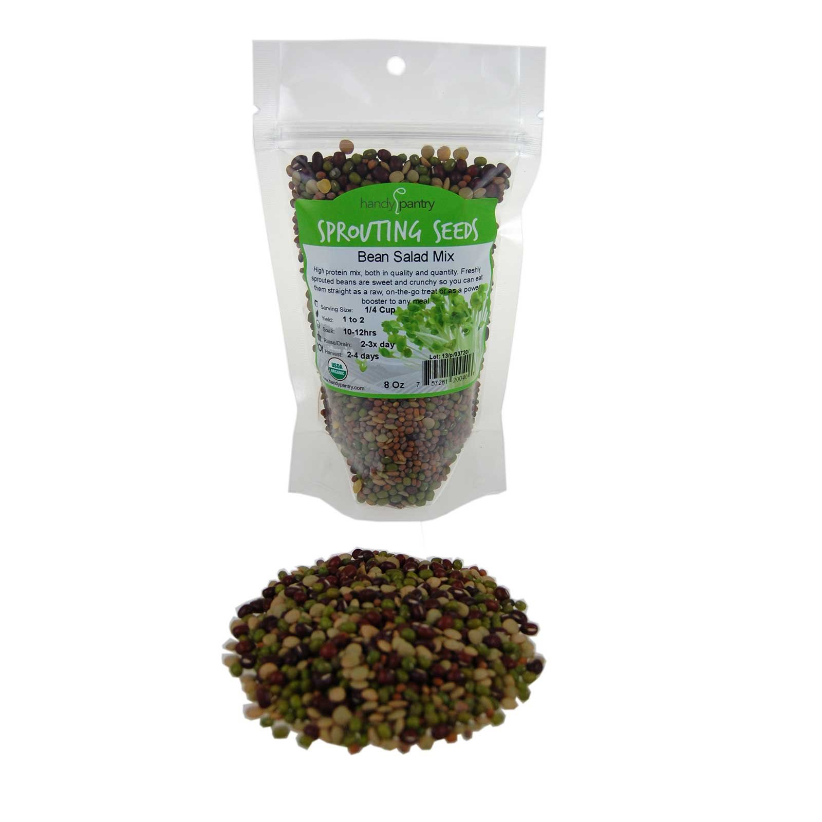 Bean Salad Sprouting Seed Mix- Organic- 1/2 Lbs (8 Oz.) - Mix of Bean Sprout Seeds: Adzuki, Mung Bean, Green Lentil & Radish. For Sprouting Sprouts, Soup, Food Storage