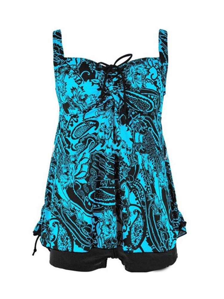 Zando女性用フローラルプリントSwimdress水着2ピース水着プラスサイズタンキニwithボーイショーツBathsuits for Teens B071GXGF7P ブラック花柄 XL