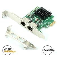 Ubit Gigabit LAN,Gigabit Ethernet PCI Express PCI-E Network Controller Card,10/100/1000mbps,Dual Port PCIE Server Network Interface Card, LAN Adapter Converter for Desktop PC(RJ45x2)