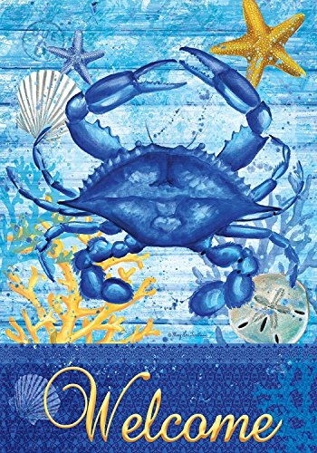 [Blue Crab Welcome Summer Garden Flag Nautical Starfish Seashell 12.5