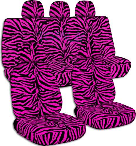 (Animal Print Car Seat Covers w 5 (2 Front + 3 Rear) Headrest Covers: Pink Zebra - Semi-Custom Fit - Full Set - Will Make Fit Any Car/Truck/Van/SUV (30 Prints) )