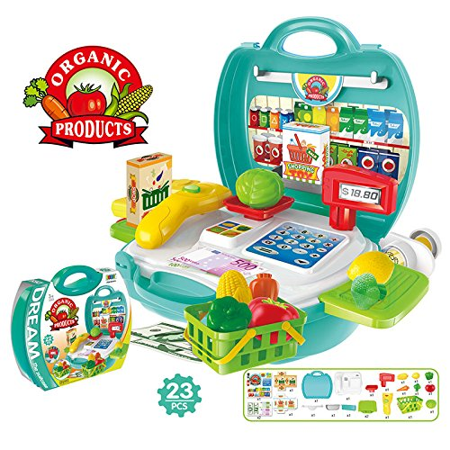 Lanlan 1Pcs Creative Mini Plastic Portable Suitcase Simulation Pretend Play Toys With 23 Products Supermarket Fruits Vegetables Drinks Roles Play Dress Up Set (As Shown In (Fireman Dress Up Accessory Kit)