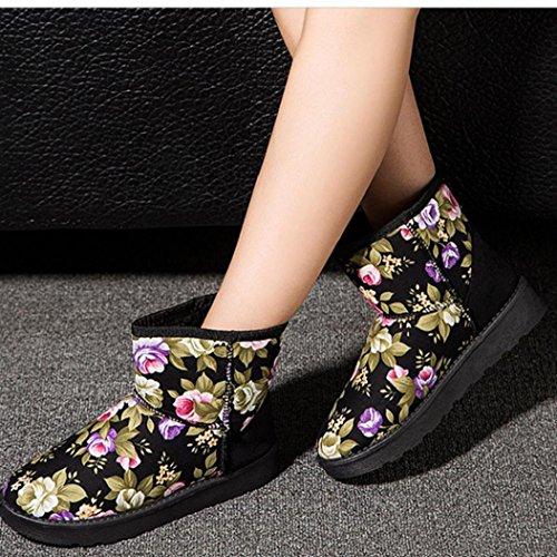 16-mxl10 Viasa Fashion Dames Veterschoenen Met Veters En Gevoerd Winter Warme Sneeuwschoenen Zwart